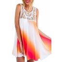 Color Block Cutout Round Neck Sun Dress