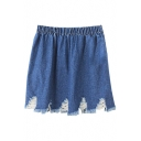 Blue Elastic Waist Ripped Denim Skirt