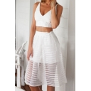 White Sheer Mesh Full Midi Skirt