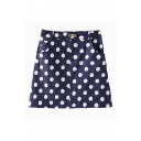 All Over Polka Dot Cute Style A-line Denim Skirt