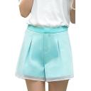 Plain High Waist Wide Leg Organza Insert Shorts