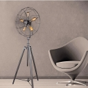 Five-light Industrial Whimsical Iron Fan Large LED Floor Lamp