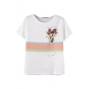 White Short Sleeve Bouquet Stripe Print T-Shirt