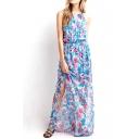 Elastic Waist Maxi Flower Chiffon Cami Dress