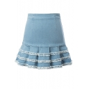Light Blue Bodycon Pleated Tassel Hem Denim Skirt