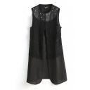 Black PU Studded Tassel Trimmed Sleeveless Tunic Shirt