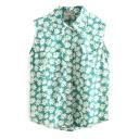 Vintage Daisy Print Lapel Sleeveless Shirt