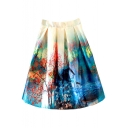 Landscape Print High Waist Mini Full Skirt