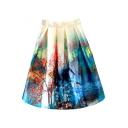 Landscape Print High Waist Mini Full Skirt