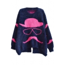 Mustache Human Pattern Back Split Round Neck Long Sleeve Mohair Sweater