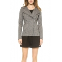 Gray Lapel Zipper Fly Cropped Hooded Coat