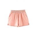 Plain Candy Color Elastic Waist Pleated Hot Pants