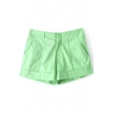 Plain Pleated Zipper Fly Pockets Shorts