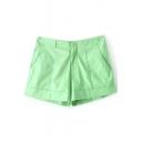 Plain Pleated Zipper Fly Pockets Shorts