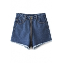 High Waist Frayed Cuffs Loose Denim Shorts