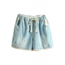 Light Blue Lace Trim Flora Embroidered Denim Shorts