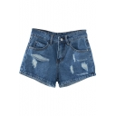 Dark Blue High Waist Ripped Denim Shorts