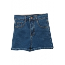 Dark Blue Elastic High Waist Denim Shorts
