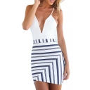 White Lace Insert Spaghetti Strap Striped Dress