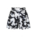 White Elastic Waist Wide Leg Fitted Shorts