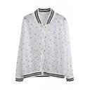 White Fresh Print Sheer Long Sleeve Striped Coat