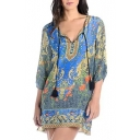 3/4 Sleeve Drawstring Neck Baroque Pattern Vintage Dress