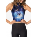 Blue Galaxy Print Sleeveless High Collar Crop Tank