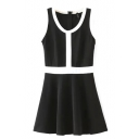 Contrast Trim Sleeveless Fit&Flare Mono Dress