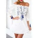 White Off The Shoulder Print Drawstring Dress