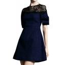 Black Lace Shoulder Short Sleeve Denim A-line Dress