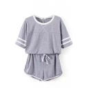 Gray Striped T-Shirt with Shorts Sports Co-ords