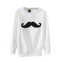 Round Neck Cartoon Mustache Embroidered Long Sleeve Hair Added Sweatshirt