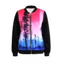 Red&Blue Beautiful Forest Print Baseball Jacket