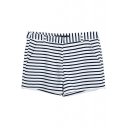 Stripe Print White Zipper Fly Shorts