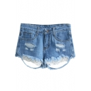 Light Blue Distressed Detail Lace Hem Denim Shorts