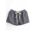 Gray Gingham Drawstring Shorts