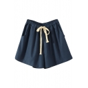 Linen Drawstring Waist Loose Casual Shorts