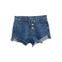 Dark Blue Four Button Front Frayed Cuffs Denim Shorts