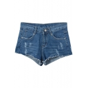 Dark Blue Mid Waist Distressed Denim Shorts