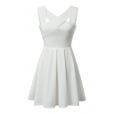 White V-Neck Sleeveless Ruffle Hem Open Back Dress
