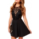 Black Lace Hollow Sleeveless Top A-line Mini Dress