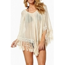 Beige Sheer V-Neck 3/4 Sleeve Tassel Hem Mini Cover-Up