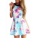 Sleeveless Blue&Purple Ink Color Flower Print A-line Dress