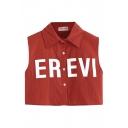 Red Letter Print Lapel Sleeveless Crop Shirt