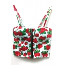 Strawberry Print Zipper Front Bralets