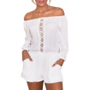 White Off The Shoulder Crochet Front Pocket Romper