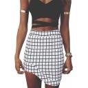 Mono Plaid Print Fitted Asymmetrical Hem Skirt