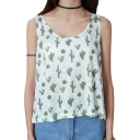 Green Cactus Print Round Neck Cute Tank