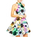 Colorful Sunflower Print Halter Full Dress