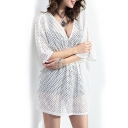 White V-Neck 1/2 Sleeve Cutout Cover-up